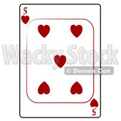 Five/5 of Hearts Playing Card Clipart © djart #4834