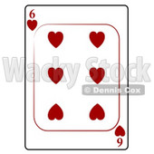 Six/6 of Hearts Playing Card Clipart © djart #4835