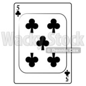 Five/5 of Clubs Playing Card Clipart © djart #4840