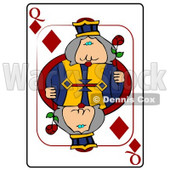 Q/Queen of Diamonds Playing Card Clipart © Dennis Cox #4844