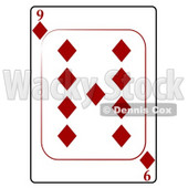 Nine/9 of Diamonds Playing Card Clipart © djart #4845