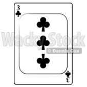 Three/3 of Clubs Playing Card Clipart © djart #4847
