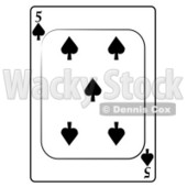 Five/5 of Spades Playing Card Clipart © djart #4859