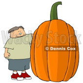 Smiling Boy Standing Beside a Giant Halloween Pumpkin Clipart © djart #4861