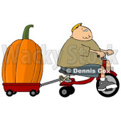 Boy Towing an Oversized Pumpkin Behind His Tricycle Clipart © Dennis Cox #4862