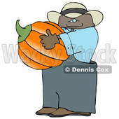 Ethnic Male Farmer Carrying a Pumpkin for Halloween Clipart © Dennis Cox #4864