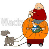 Funny Dog Pulling a Boy On a Big Pumpkin in a Wagon Clipart © djart #4866