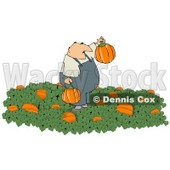 Farmer Harvesting Halloween Pumpkins from a Pumpkin Patch Clipart © Dennis Cox #4867