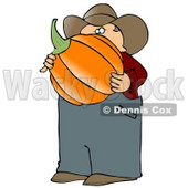 Caucasian Male Farmer Carrying a Freshly Harvested Halloween Pumpkin from His Garden Clipart © djart #4869