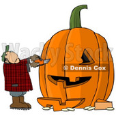 Man Carving a Face Into Big Pumpkin for Halloween Clipart © djart #4872