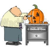 Businessman Carving a Halloween Pumpkin with a Knife Clipart © Dennis Cox #4873
