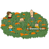 Family Looking for that Perfect Halloween Pumpkin in a Farmer's Pumpkin Patch Clipart © Dennis Cox #4874