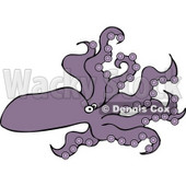 Bottom-living Cephalopod Octopus with a Soft Oval Body with Eight Long Tentacles Clipart © djart #4876