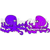 Two Foreign Octopuses Meeting Each Other Clipart © djart #4879