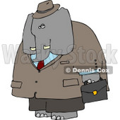 Human-like Male Business Elephant Carrying Briefcase Clipart © djart #4882