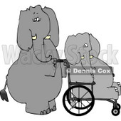 Human-like Caretaker Elephant Pushing Injured Elephant in a Wheelchair Clipart © Dennis Cox #4883