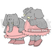 Two Human-like Elephant Ballerina Dancers Clipart © Dennis Cox #4886