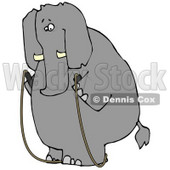 Human-like Obese Elephant Jump Roping Clipart © Dennis Cox #4887