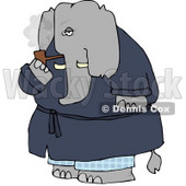 Human-like Elephant Smoking Tobacco Pipe Clipart © Dennis Cox #4888