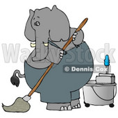 Human-like Elephant Janitor Cleaning and Mopping a Floor Clipart © djart #4890