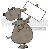 Human-like Dog Holding a Blank Sign Clipart © Dennis Cox #4892