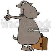 Human-like Dog Hitchhiking for an Automobile Ride Clipart © Dennis Cox #4896