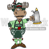 Human-like German Moose Celebrating Oktoberfest with a Beer Stein Clipart © djart #4900