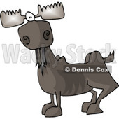 Full Grown Bull Moose with Antlers Clipart © Dennis Cox #4901