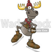 Human-like Ice Skating Bull Moose with Antlers Clipart © djart #4902