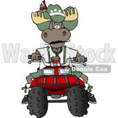 Bull Moose Riding a Recreational ATV Four Wheeler Clipart © Dennis Cox #4903