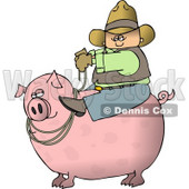 Cowboy Farmer Man Riding a Big Fat Pig Clipart © Dennis Cox #4904