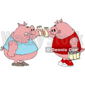 Human-like Fat Pigs Toasting Beers Against Each Other Clipart © Dennis Cox #4905