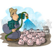 Farmer Watering His Pigs with Fertilizer Concept Clipart © Dennis Cox #4908