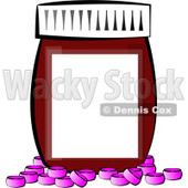 Blank Medicine Bottle with Pink Pills Clipart © Dennis Cox #4909