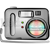 Standard Point and Shoot Digital Camera with Flash Clipart © djart #4910