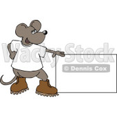Mouse Standing Beside a Blank Sign Clipart © Dennis Cox #4912