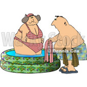 Obese Woman Getting Out of a Swimming Pool with a Man Clipart © djart #4913