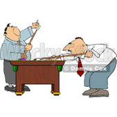 Two Men Playing a Game of Pool In Their Business Suits Clipart © djart #4917