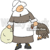 Elderly Pilgrim Woman Carrying a Dead Turkey by Its Neck Clipart © Dennis Cox #4919