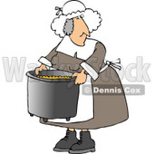 Elderly Obese Pilgrim Woman Cooking with a Metal Kitchen Pot Clipart © djart #4922