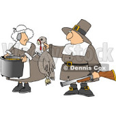 Male Pilgrim Hunter Holding up a Dead Turkey for His Wife to Cook Clipart © Dennis Cox #4923