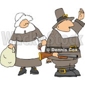 Halt! We're Having Turkey Tonight My Pilgrim Family and Friends Clipart © Dennis Cox #4924