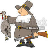 Successful Male Pilgrim Hunter Holding a Dead Turkey and a Gun Clipart © Dennis Cox #4925
