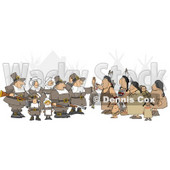 Unpredictable Group of Pilgrims Offering a Dead Turkey to Indians Clipart © Dennis Cox #4926