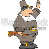 Armed Pilgrim Man Waving His Hand In the Air Clipart © djart #4927