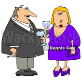 Couple Partying at a Cocktail Party Clipart © Dennis Cox #4931
