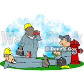 Three Male Workers Taking a Lunch Break Clipart © Dennis Cox #4932