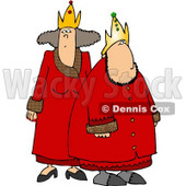 Royal King & Queen Wearing Red Robes and Gold Crowns Clipart © Dennis Cox #4935
