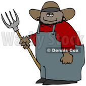 Smiling Mexican Cowboy Farmer Holding a Pitchfork Clipart © Dennis Cox #4936