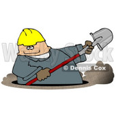 Caucasian Male Worker Digging a Deep Underground Hole with a Shovel Clipart © djart #4937